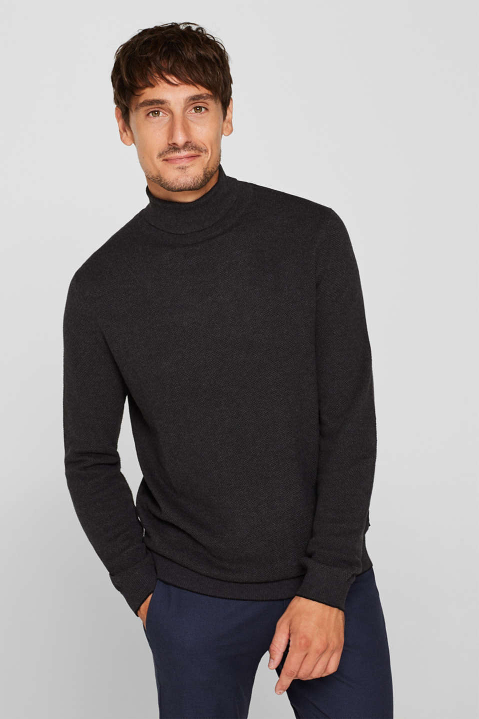 Polo neck jumper, 100% cotton, ANTHRACITE, detail image number 0