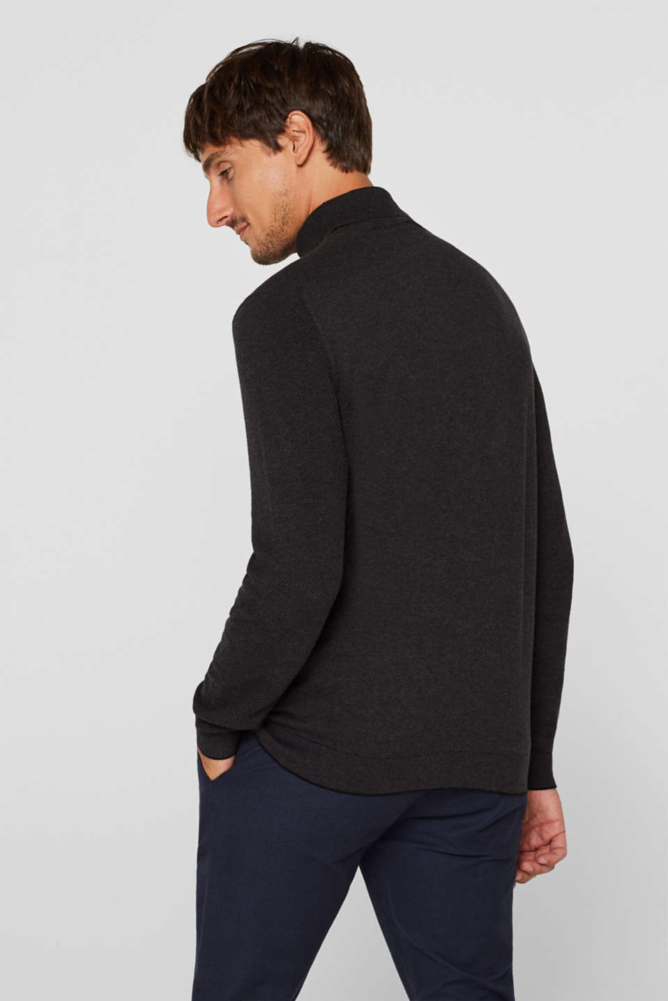 Polo neck jumper, 100% cotton, ANTHRACITE, detail image number 3