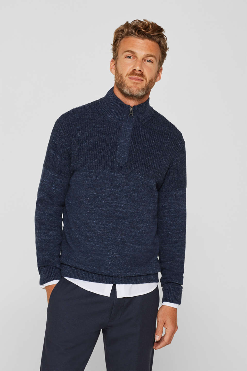 Esprit - Button/zip neck made of blended cotton