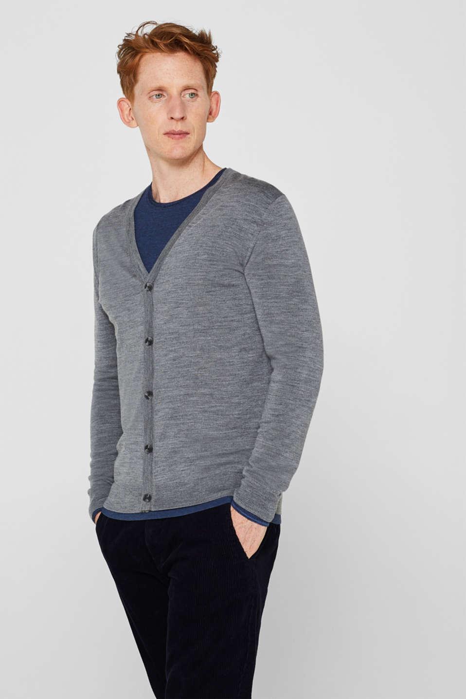 100% merino wool: Fine-knit cardigan, GREY, detail image number 0
