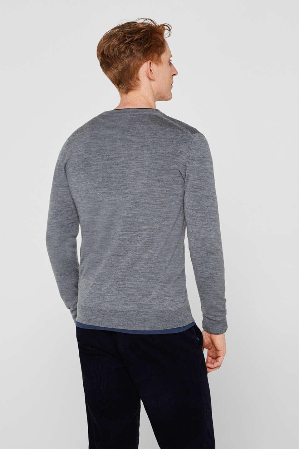 100% merino wool: Fine-knit cardigan, GREY, detail image number 3