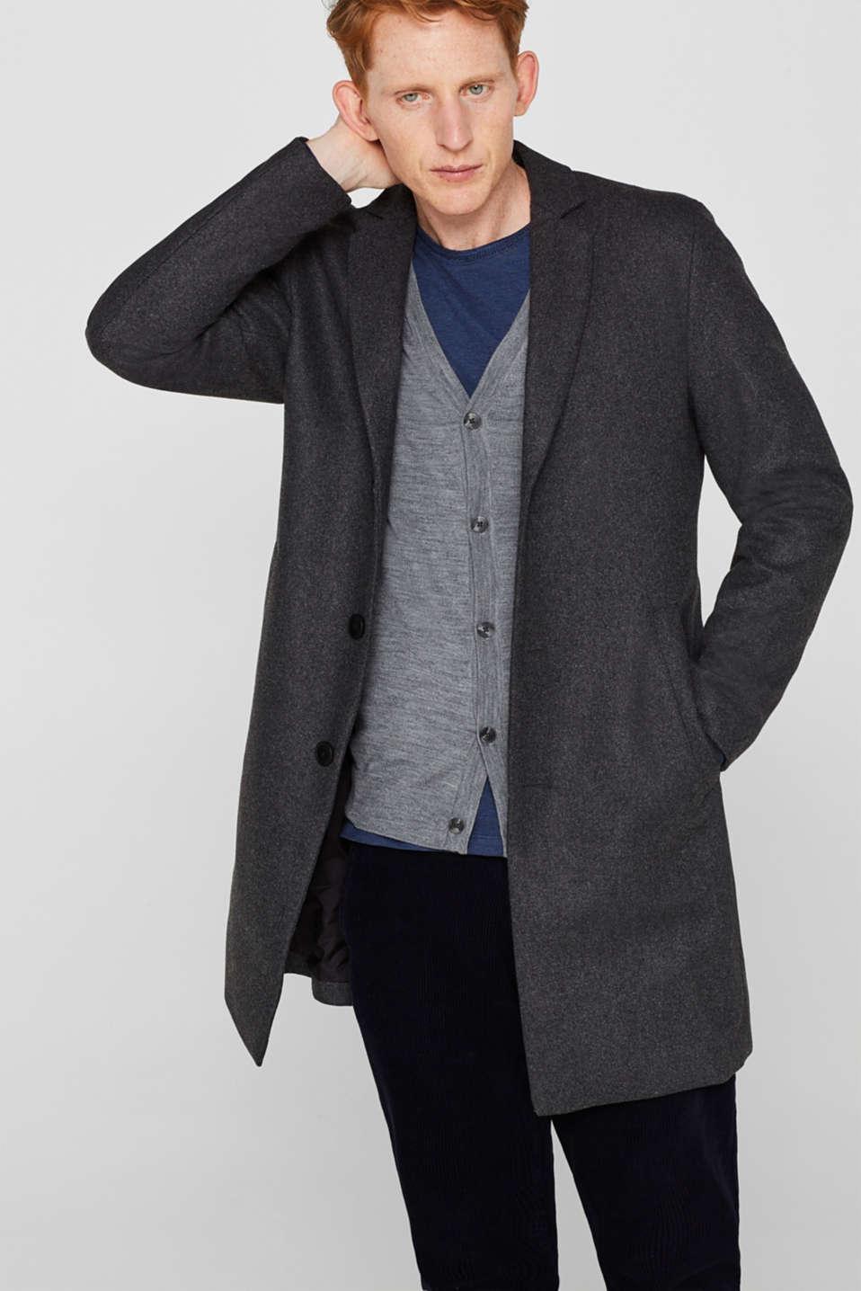 100% merino wool: Fine-knit cardigan, GREY, detail image number 1
