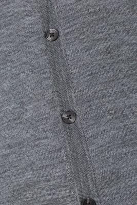 100% merino wool: Fine-knit cardigan, GREY, detail