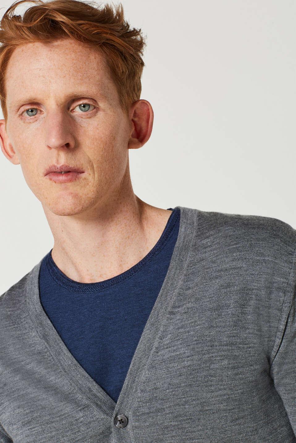 100% merino wool: Fine-knit cardigan, GREY, detail image number 5