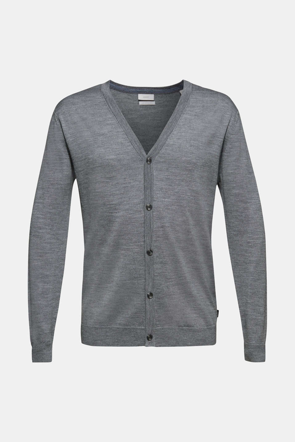 100% merino wool: Fine-knit cardigan, GREY, detail image number 7