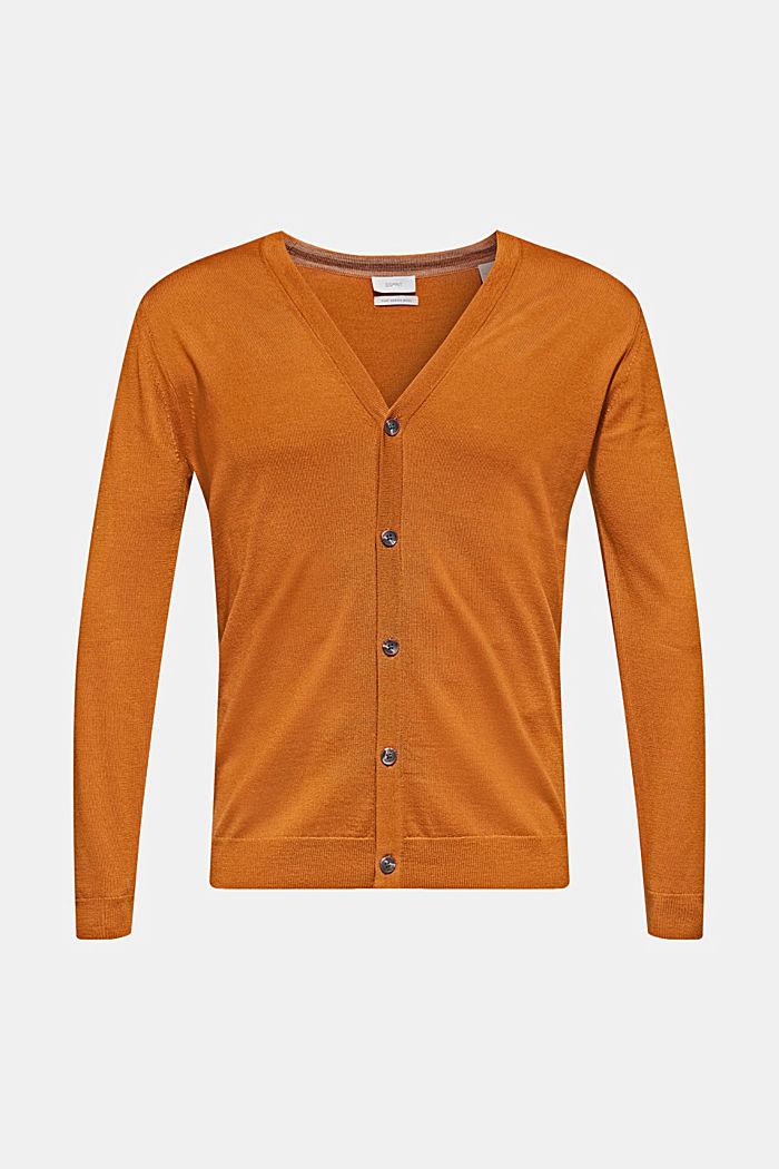 100% lana merino: cárdigan de punto fino, CARAMEL, detail image number 0