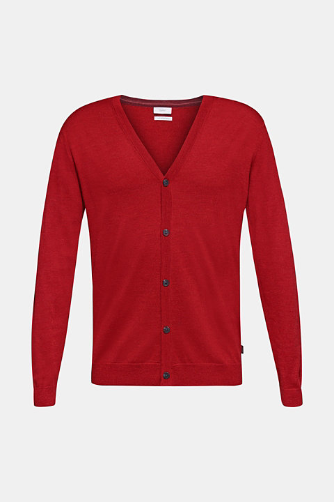100% merino wool: Fine-knit cardigan