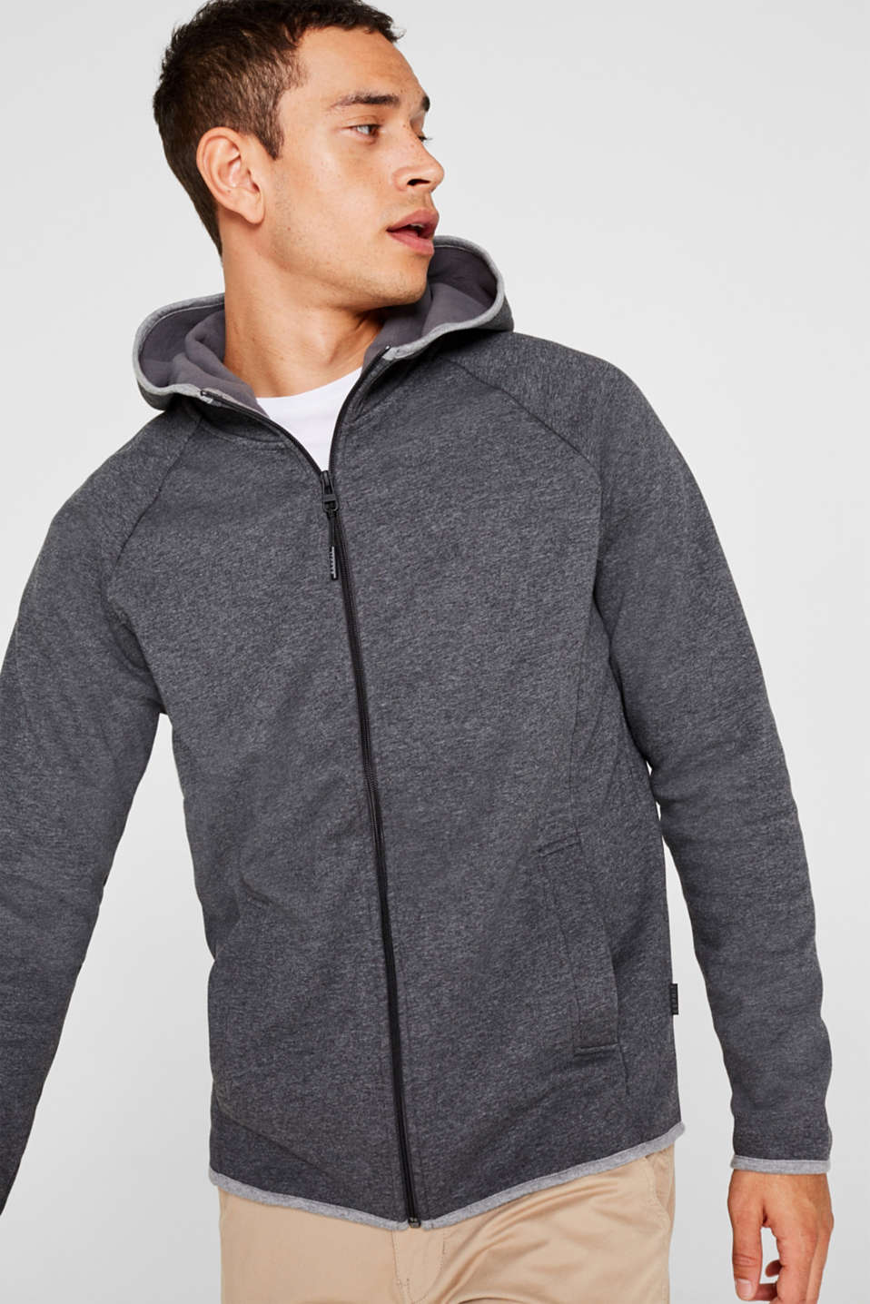 Esprit - Sweat-Cardigan mit Fleece-Futter
