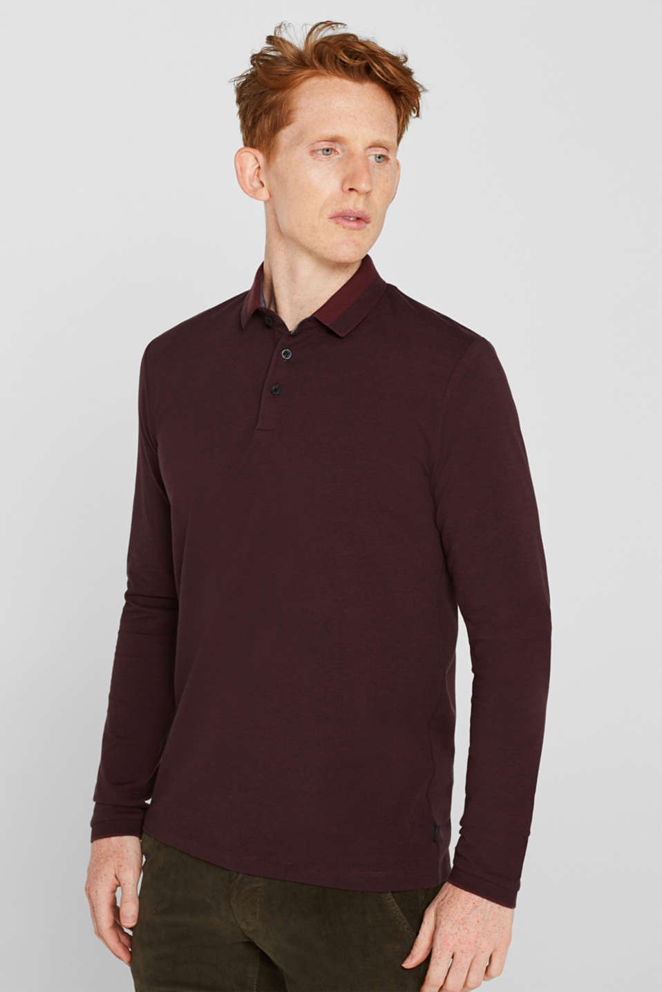 Esprit - Jersey polo shirt in blended cotton