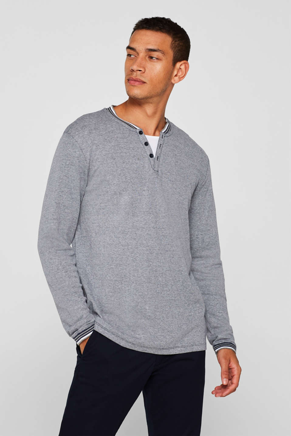 Jersey long sleeve top with textured stripes, NAVY, detail image number 0