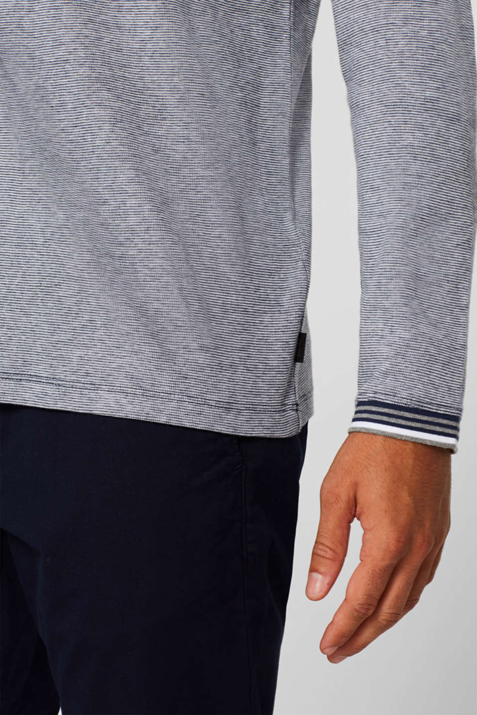 Jersey long sleeve top with textured stripes, NAVY, detail image number 1