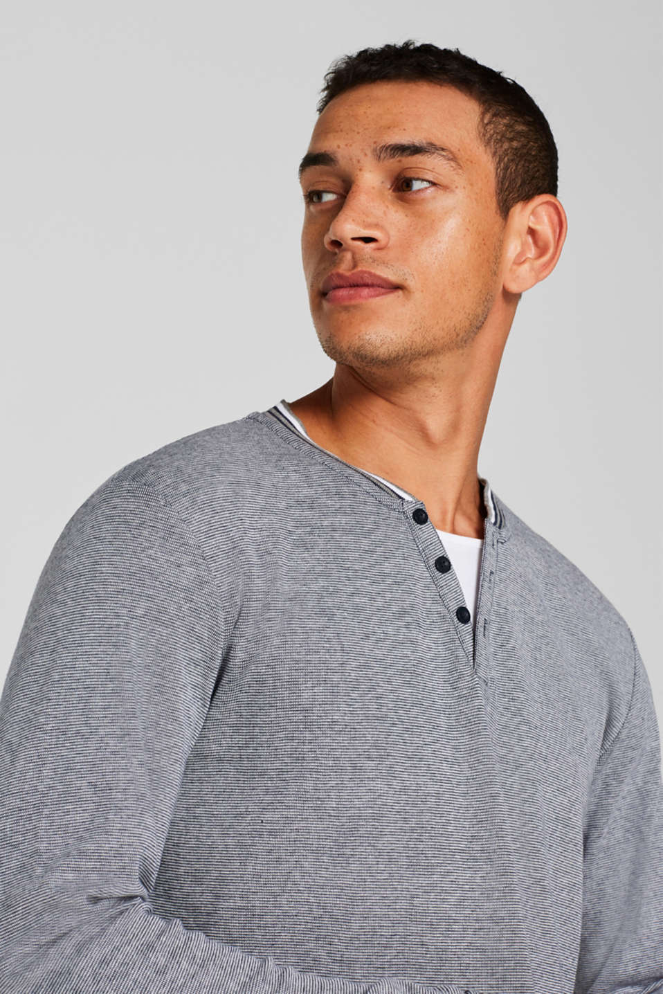 Jersey long sleeve top with textured stripes, NAVY, detail image number 4