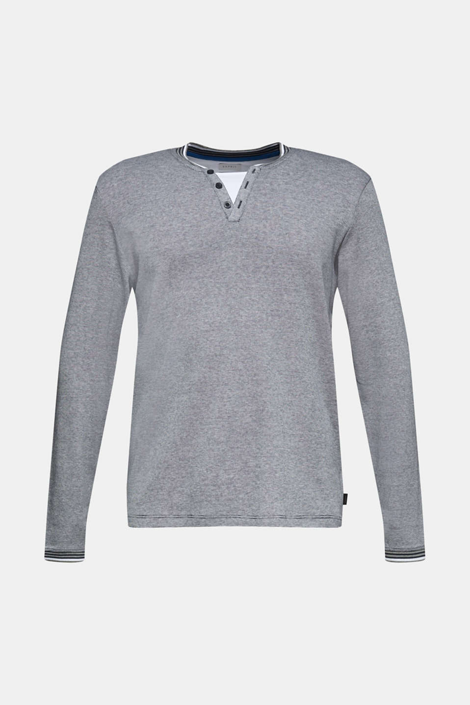 Jersey long sleeve top with textured stripes, NAVY, detail image number 6