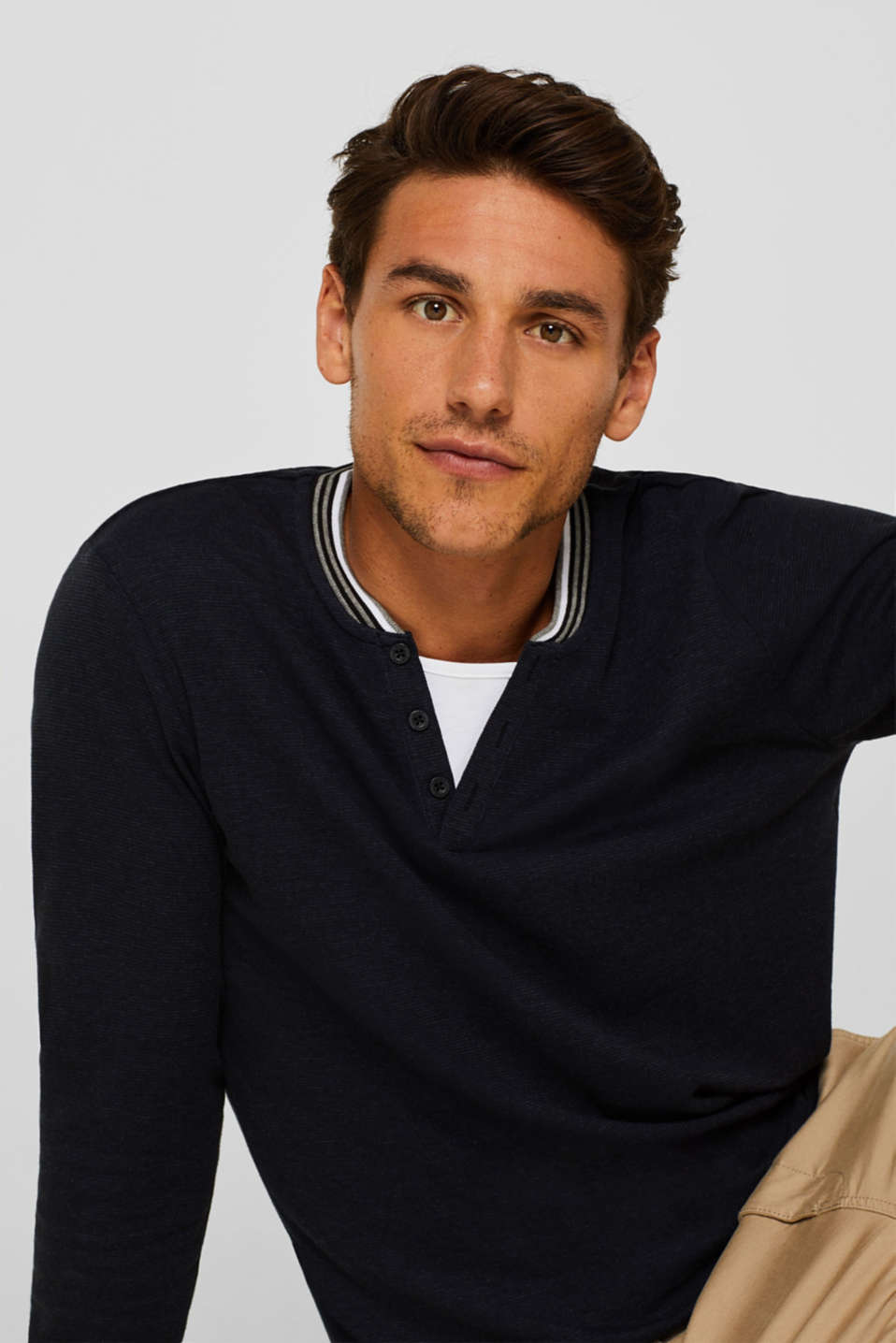 Long sleeve jersey top in a layered look, BLACK, detail image number 5