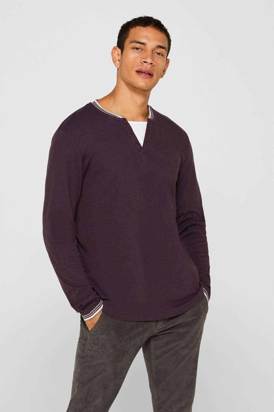 Long sleeve jersey top in a layered look, BORDEAUX RED, detail image number 0