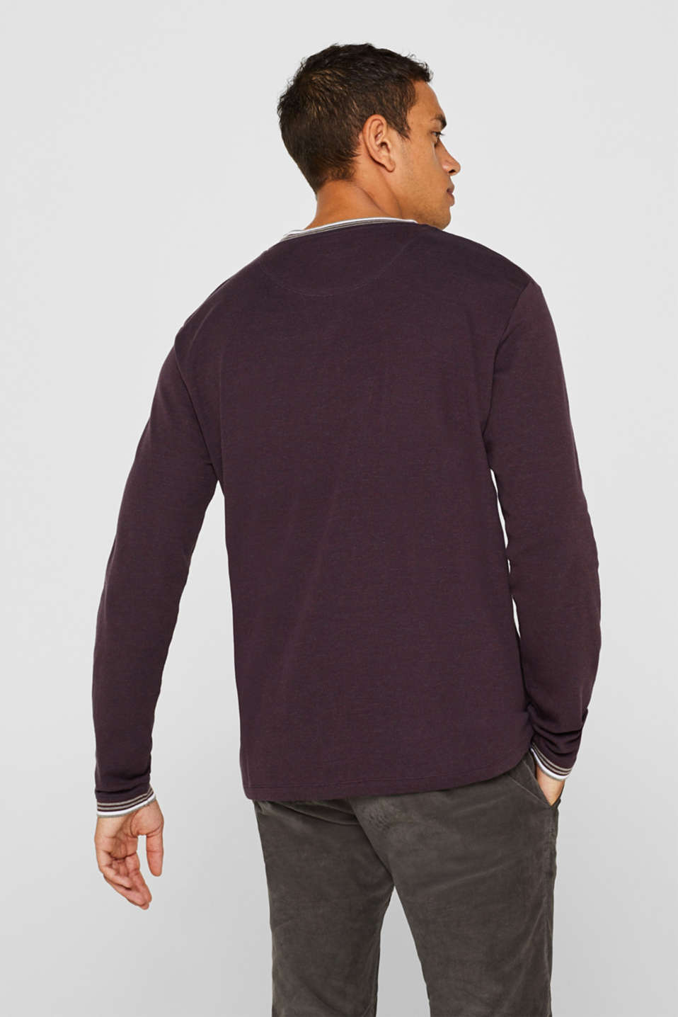 Long sleeve jersey top in a layered look, BORDEAUX RED, detail image number 3