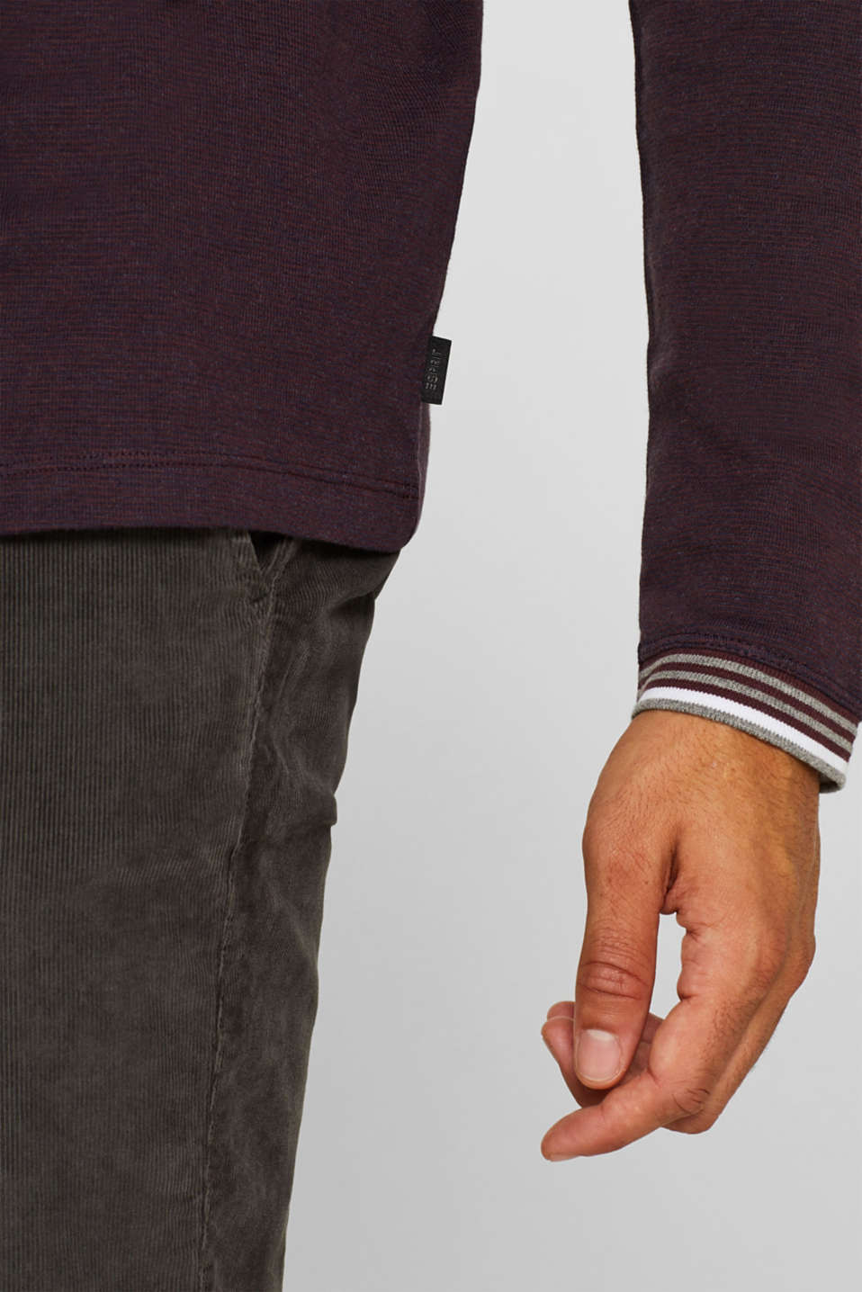 Long sleeve jersey top in a layered look, BORDEAUX RED, detail image number 1
