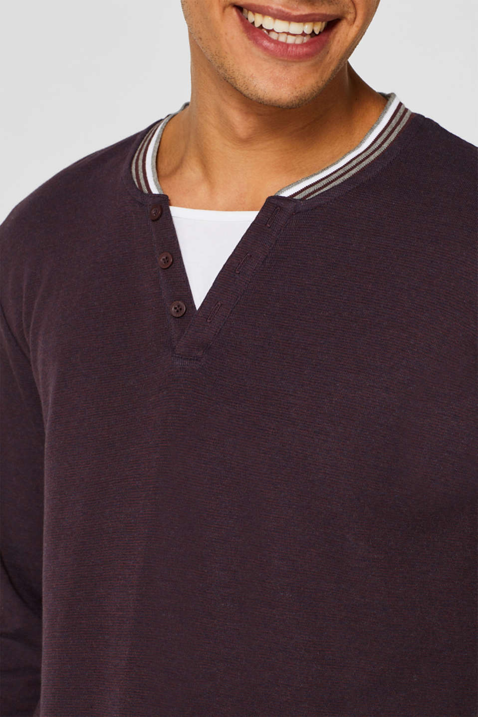 Long sleeve jersey top in a layered look, BORDEAUX RED, detail image number 6