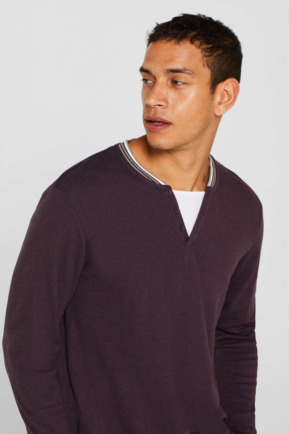 Long sleeve jersey top in a layered look, BORDEAUX RED, detail image number 5