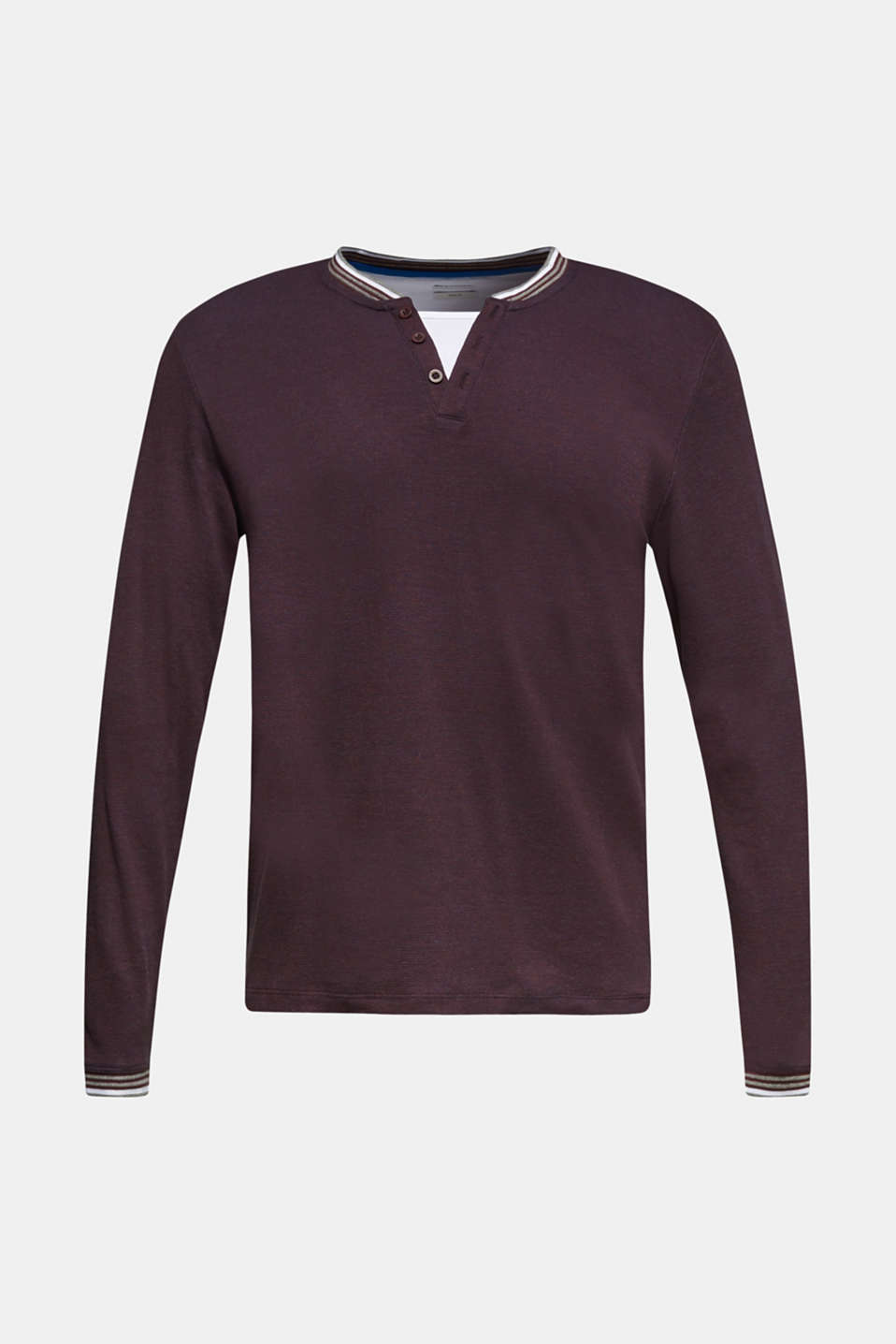 Long sleeve jersey top in a layered look, BORDEAUX RED, detail image number 7