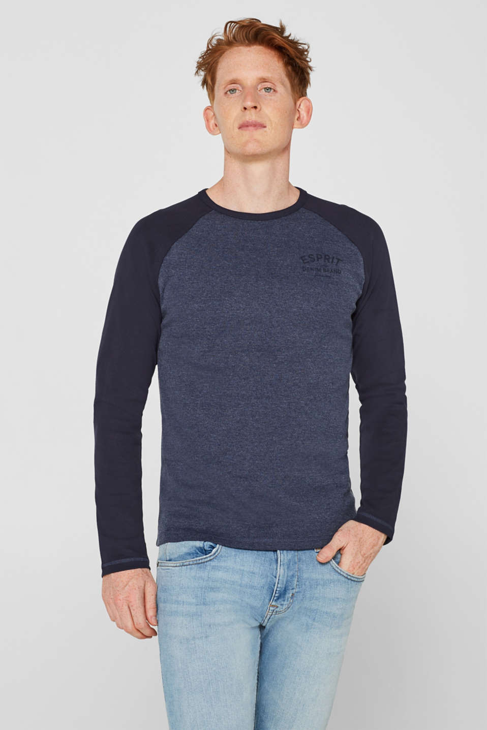 Long sleeve jersey top with raglan sleeves, NAVY, detail image number 0