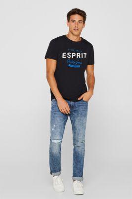 Jersey T-shirt with logo print, 100% cotton, BLACK, detail