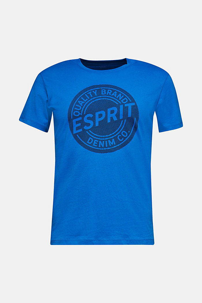 Jersey T-shirt with logo print, 100% cotton, BLUE, detail image number 0