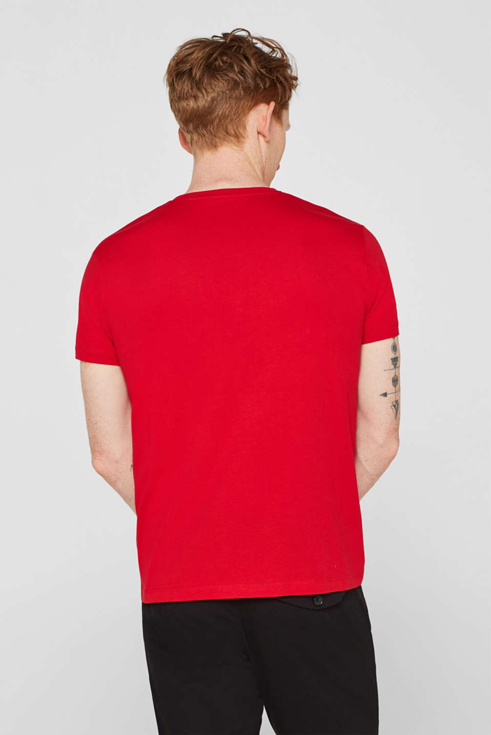 Jersey T-shirt with logo print, 100% cotton, RED, detail image number 3