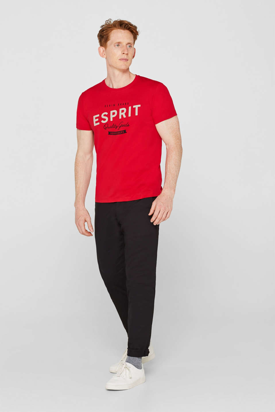 Jersey T-shirt with logo print, 100% cotton, RED, detail image number 2