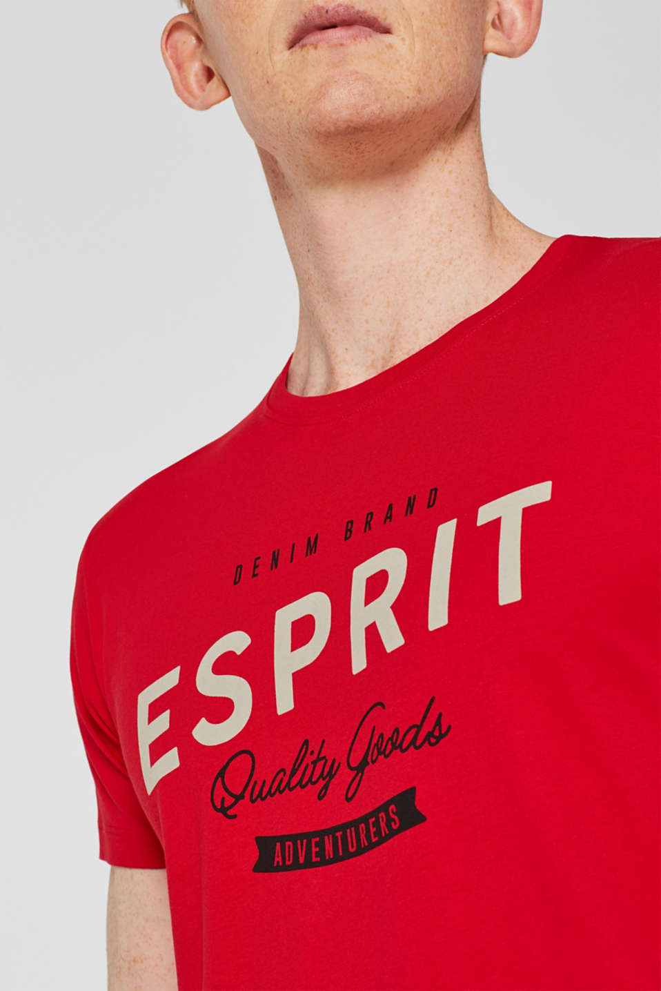 Jersey T-shirt with logo print, 100% cotton, RED, detail image number 1