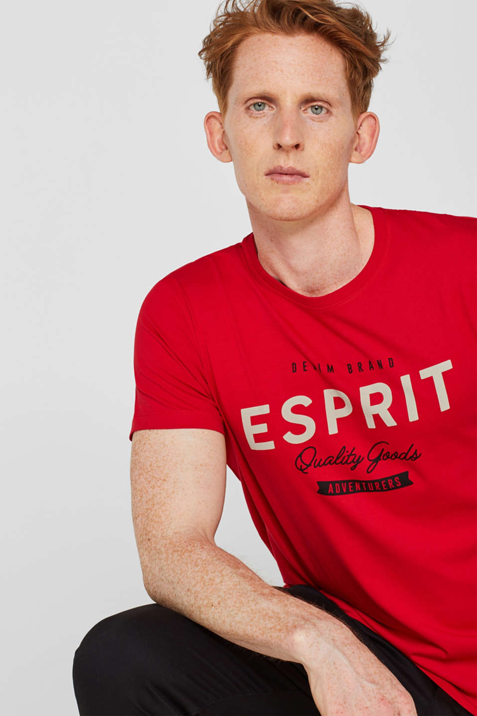 Jersey T-shirt with logo print, 100% cotton, RED, detail image number 5