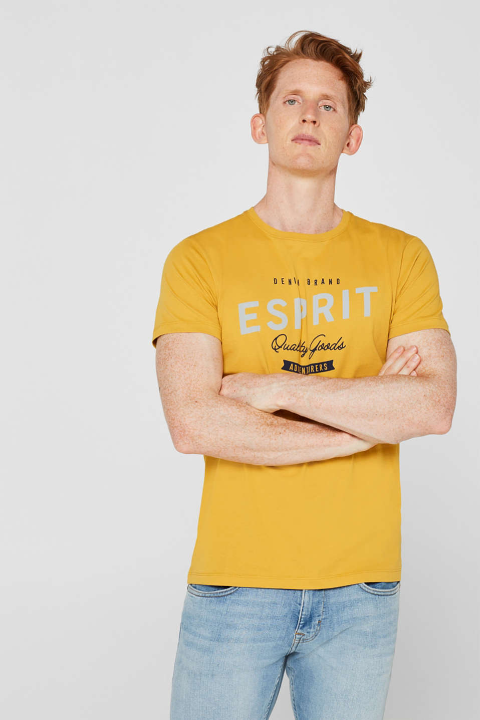 Jersey T-shirt with logo print, 100% cotton, YELLOW, detail image number 0