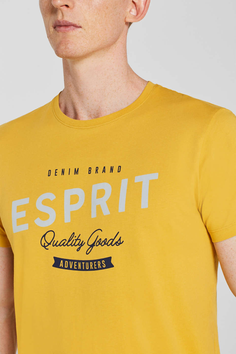 Jersey T-shirt with logo print, 100% cotton, YELLOW, detail image number 6