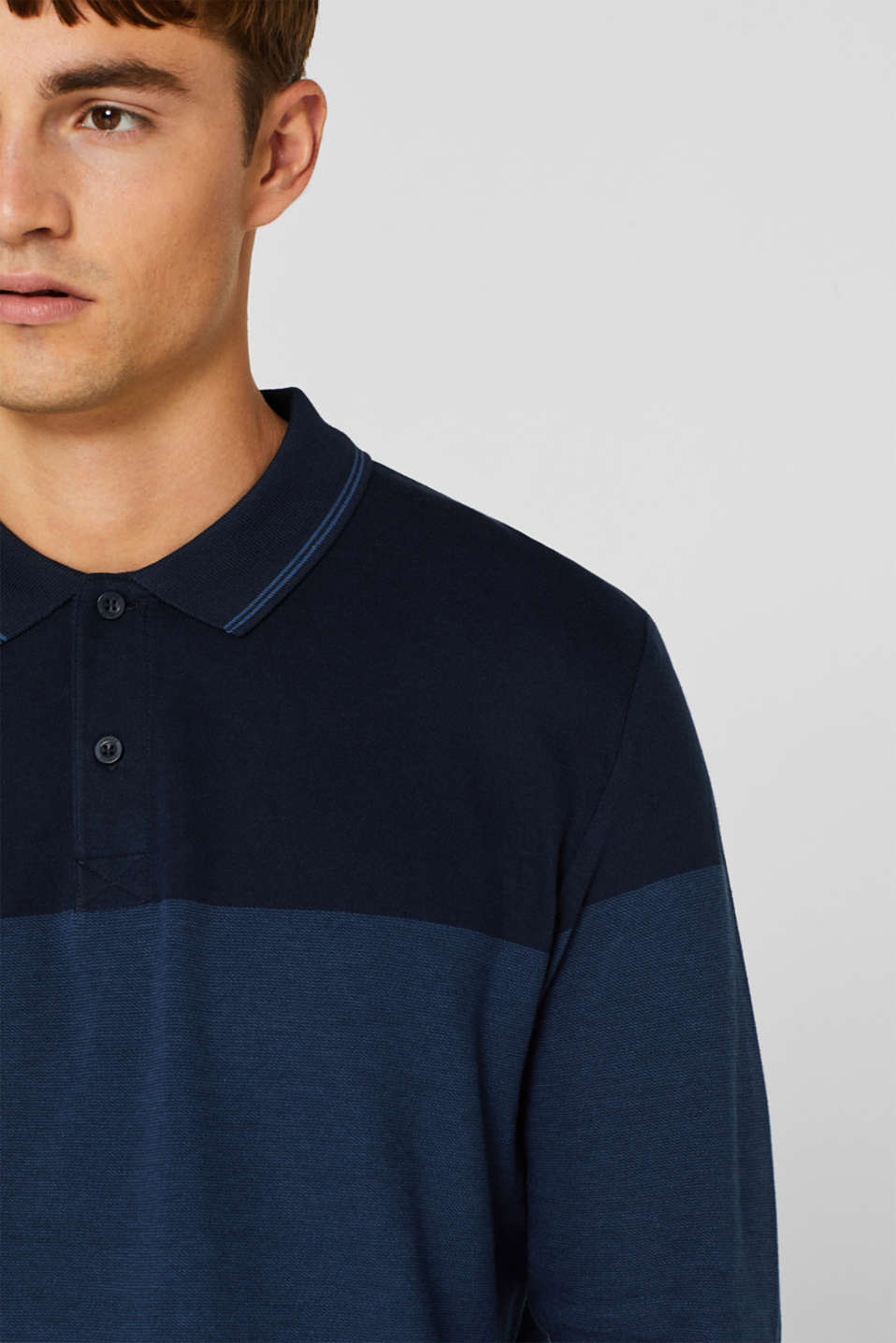 Jersey polo shirt in 100% cotton, NAVY, detail image number 1