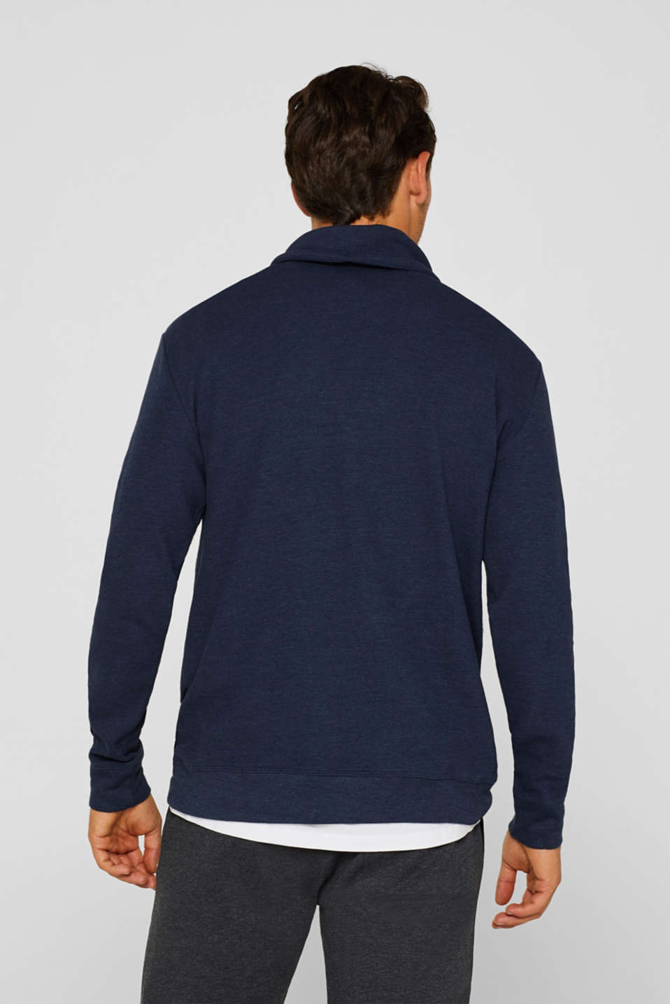 Piqué long sleeve top with a drawstring collar, NAVY, detail image number 3