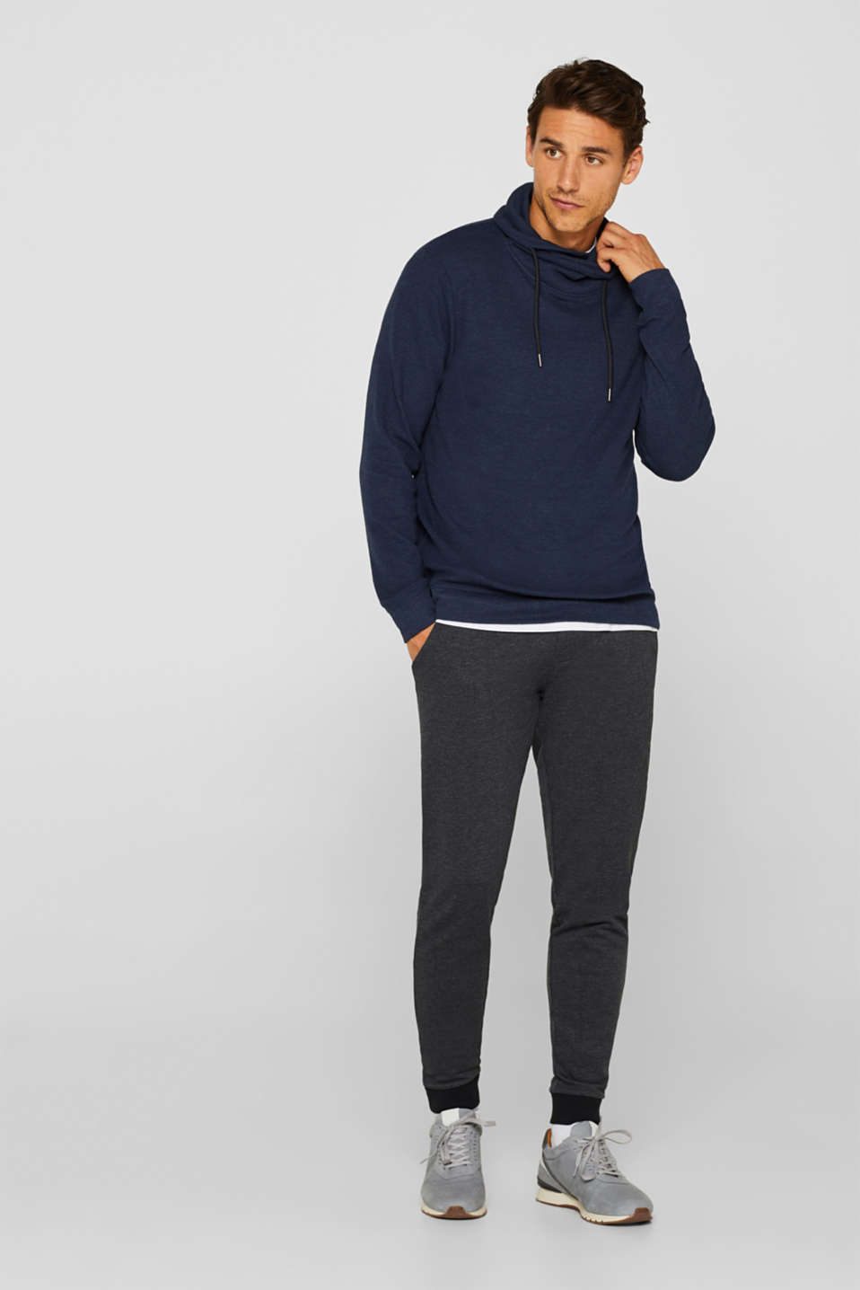 Piqué long sleeve top with a drawstring collar, NAVY, detail image number 2