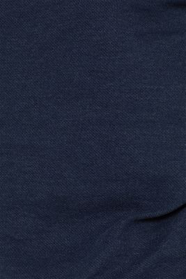 Piqué long sleeve top with a drawstring collar