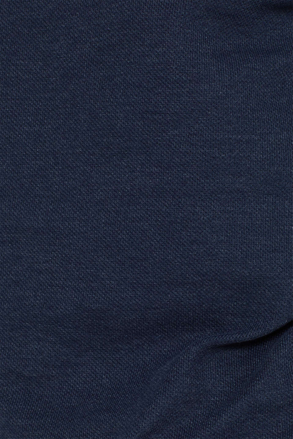 Piqué long sleeve top with a drawstring collar, NAVY, detail image number 4
