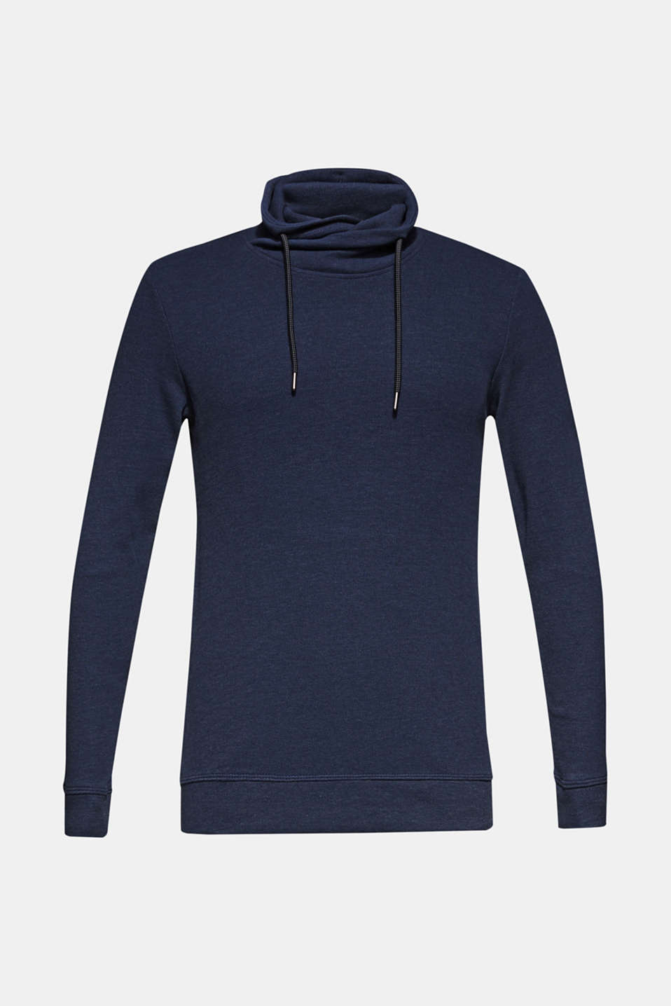 Piqué long sleeve top with a drawstring collar, NAVY, detail image number 5
