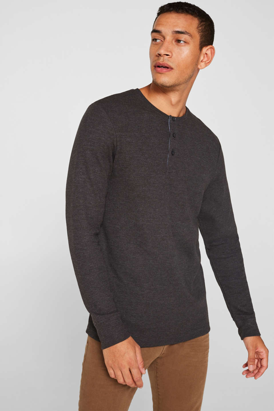 Esprit - Jersey long sleeve top with a waffle pattern