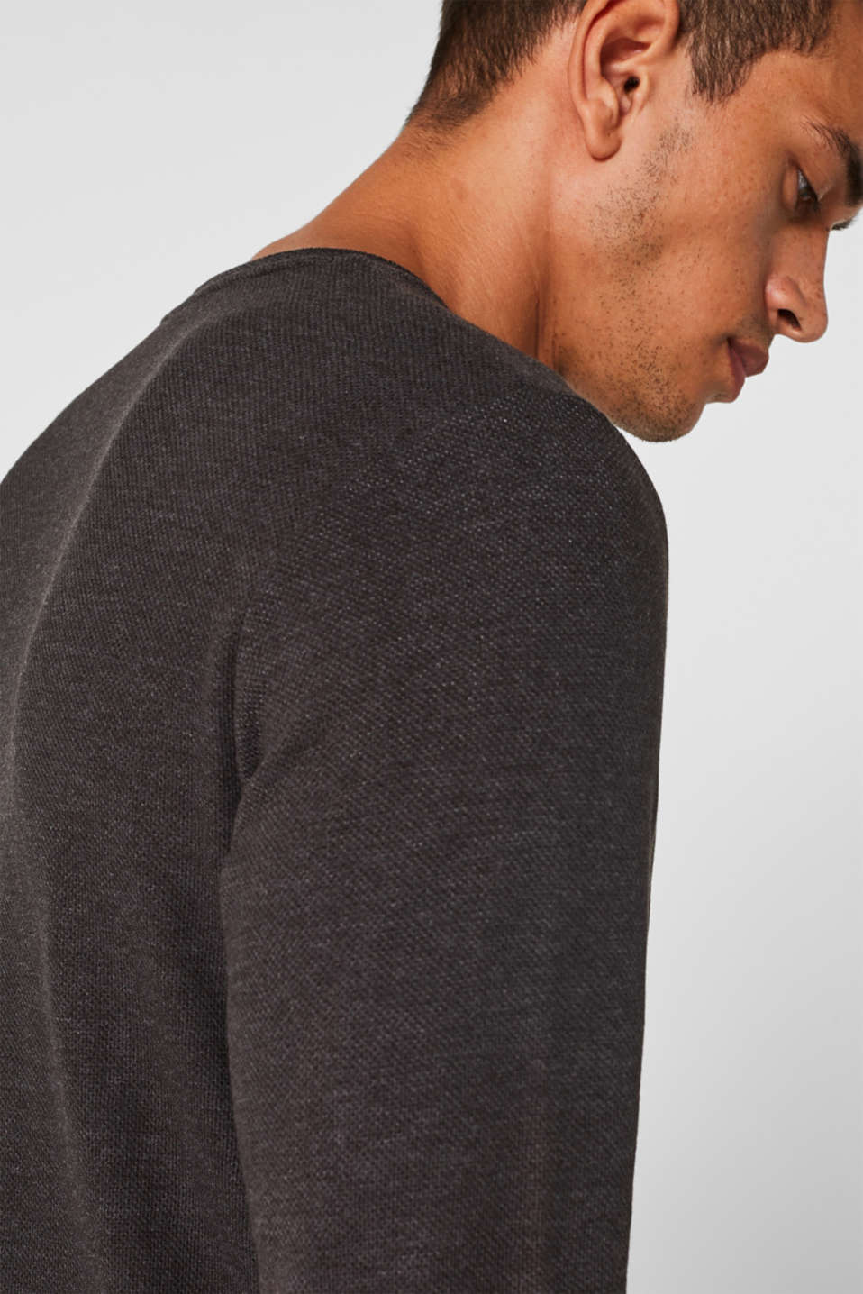 Jersey long sleeve top with a waffle pattern, DARK GREY, detail image number 1