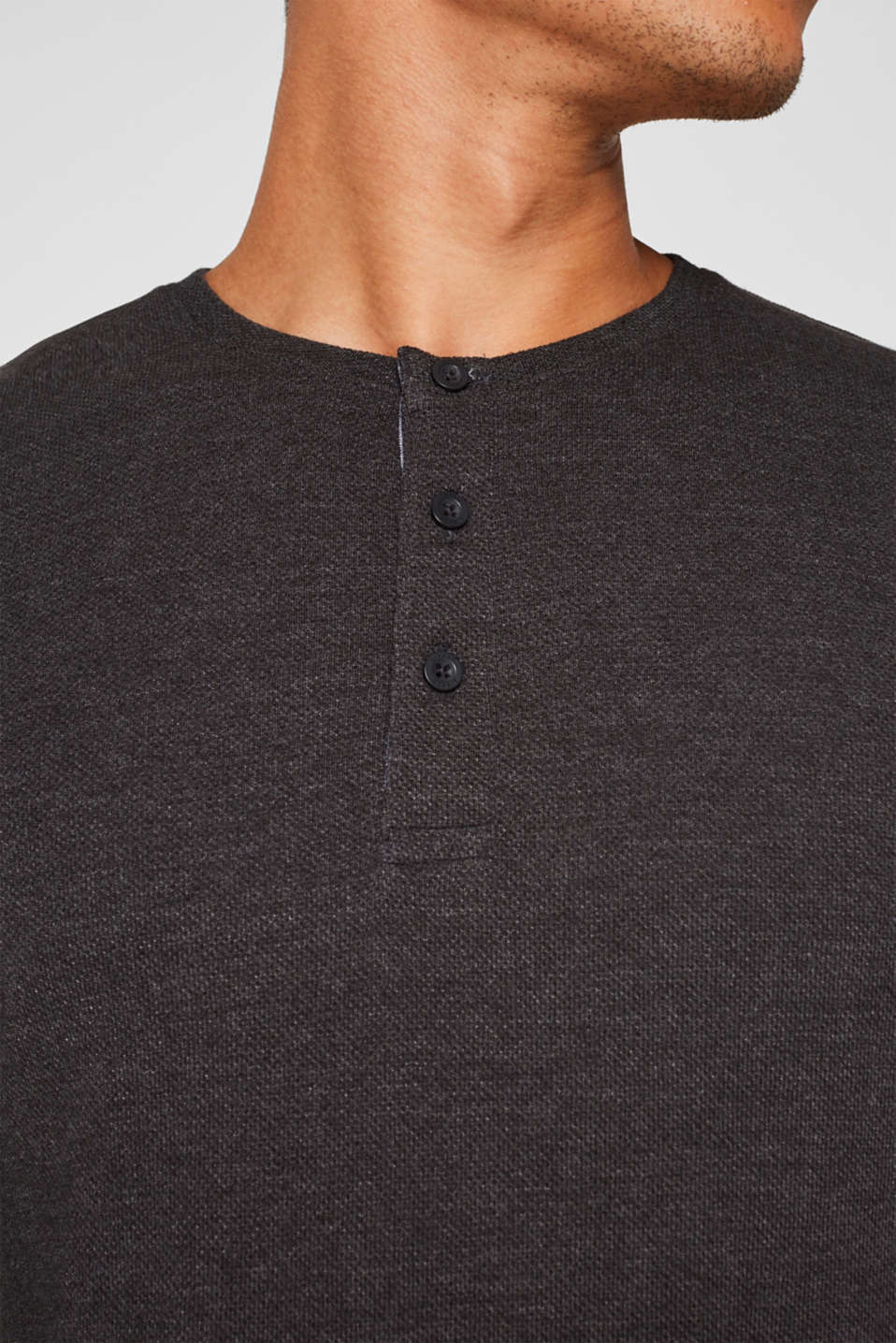 Jersey long sleeve top with a waffle pattern, DARK GREY, detail image number 6