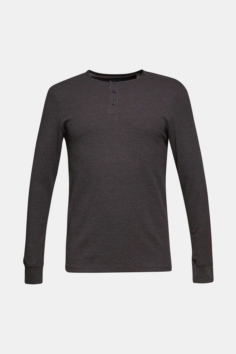 Jersey long sleeve top with a waffle pattern, DARK GREY, detail image number 7