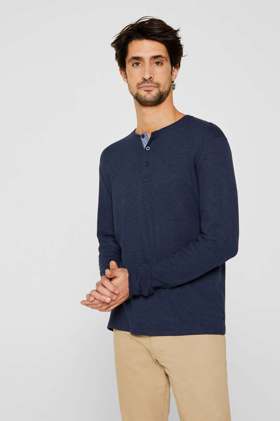 Long sleeve Henley T-shirt made of piqué, NAVY, detail image number 0