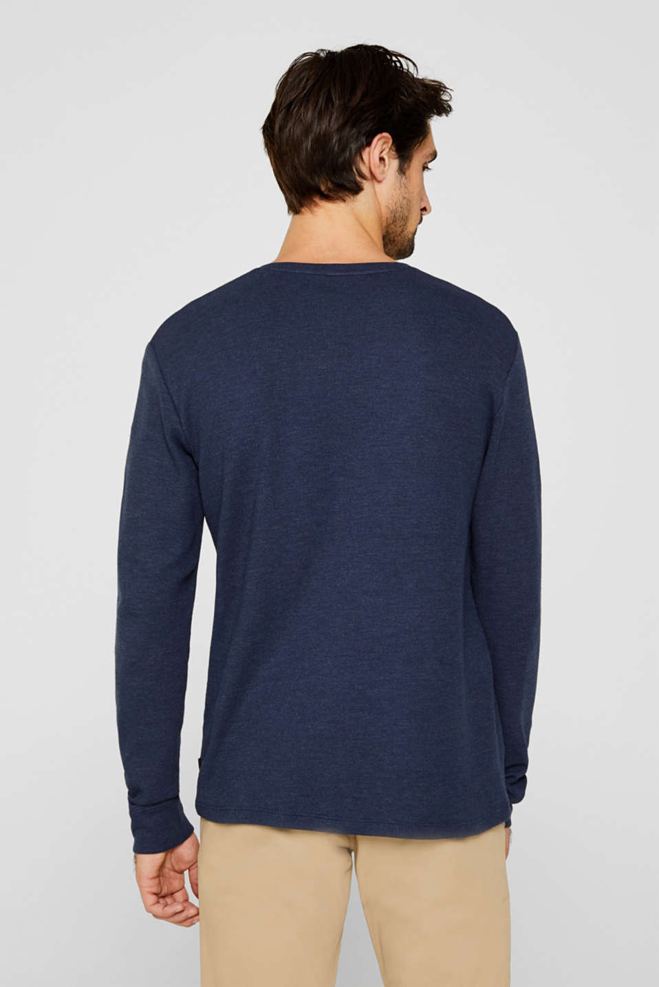 Long sleeve Henley T-shirt made of piqué, NAVY, detail image number 3