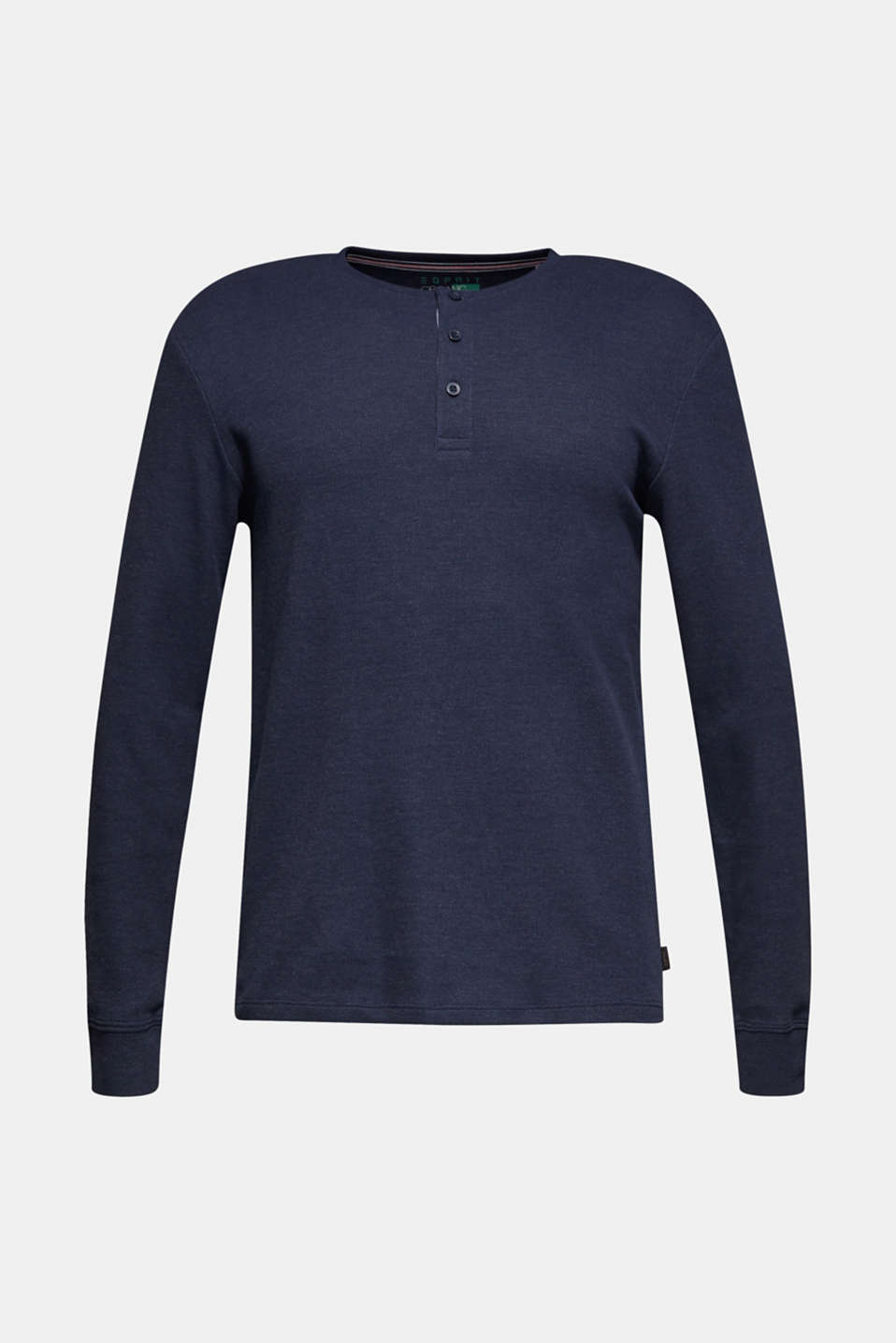 Long sleeve Henley T-shirt made of piqué, NAVY, detail image number 5