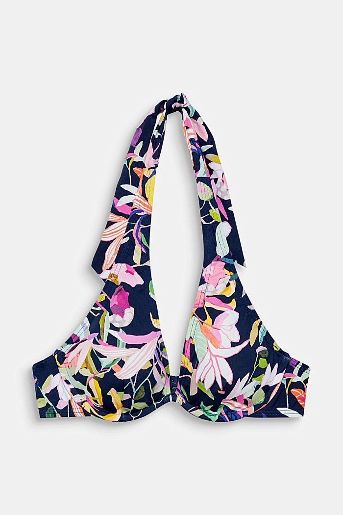 Printed, unpadded underwire bikini top, NAVY, detail image number 0