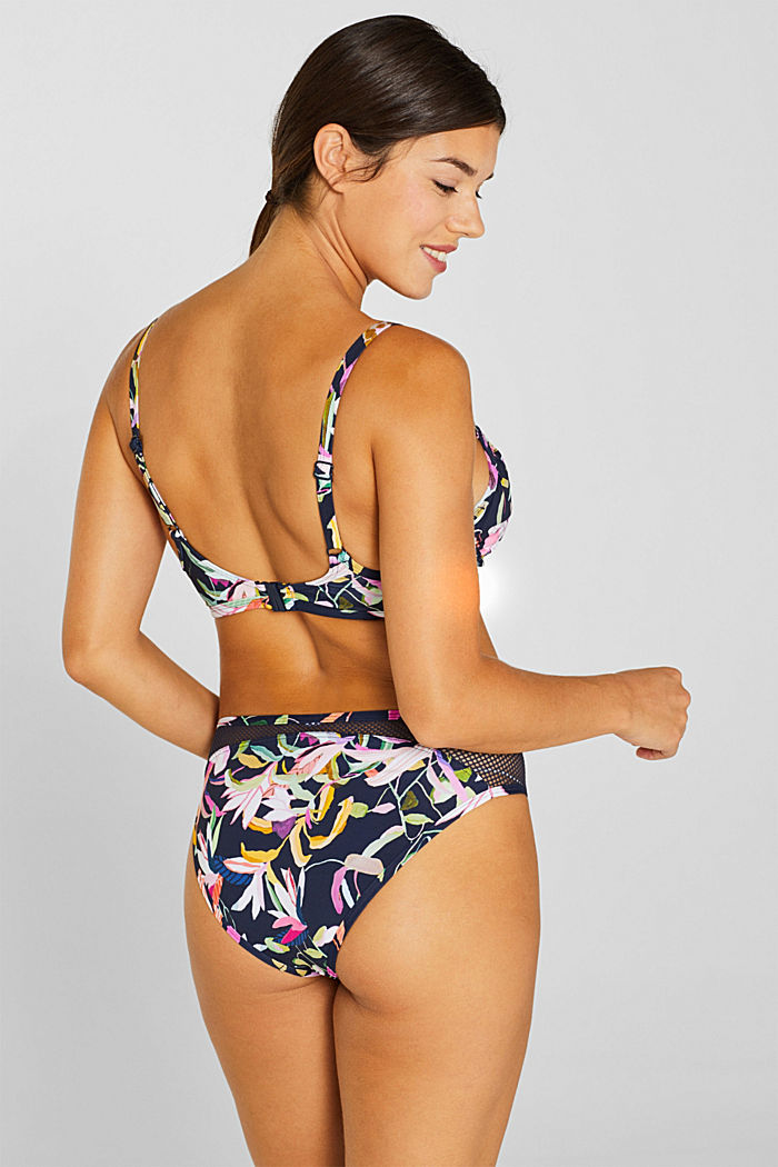 Unpadded underwire bikini top with a floral print, NAVY, detail image number 1