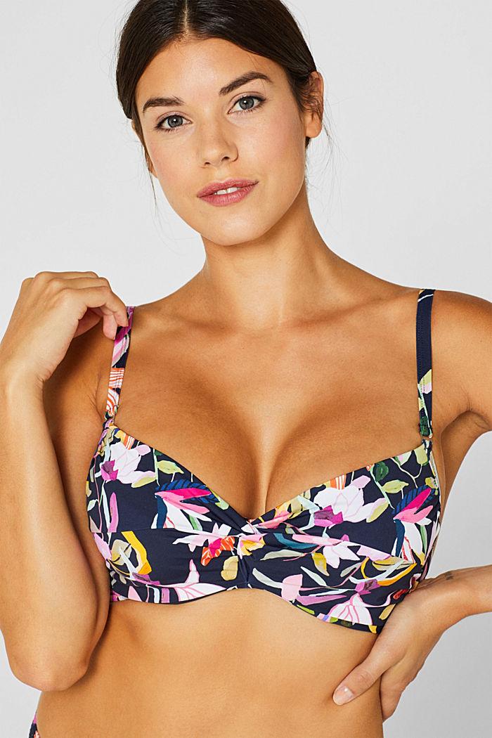 Unpadded underwire bikini top with a floral print