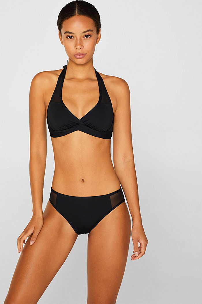 Underwire top with mesh details, BLACK, detail image number 0